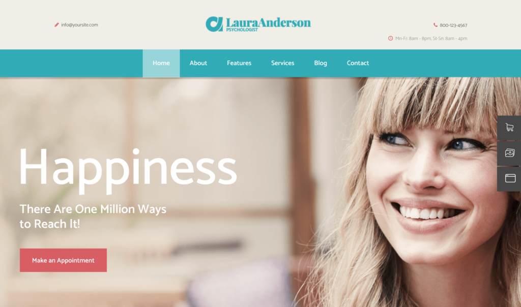 Laura Anderson– Psychologist   Therapy and Counseling Doctor WordPress Theme
